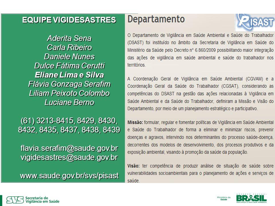 EQUIPE VIGIDESASTRES Eliane Lima e Silva