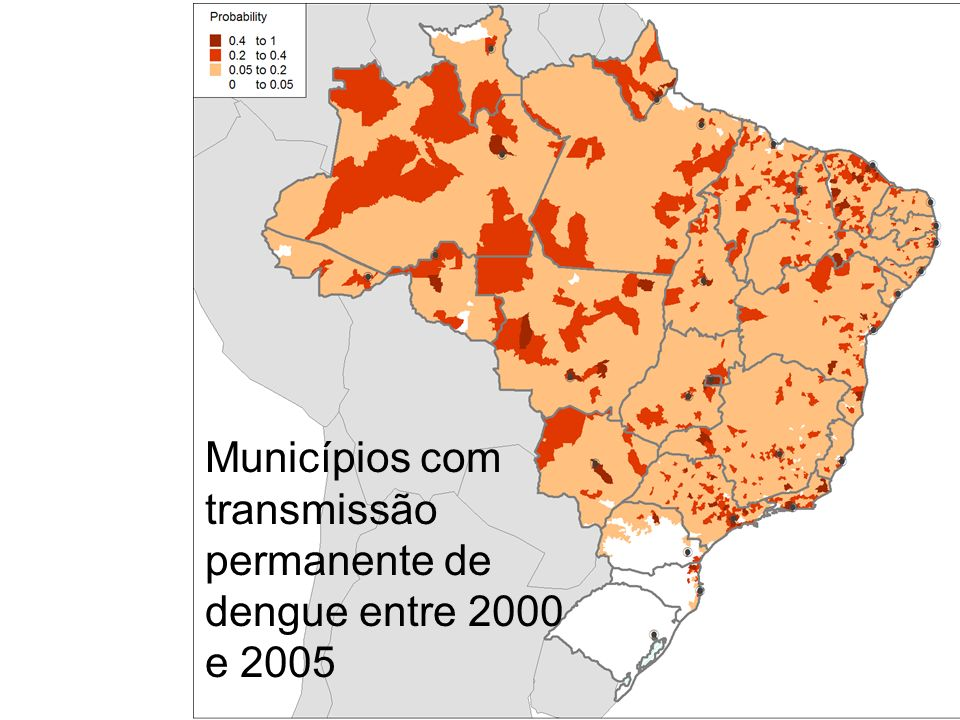Municípios com transmissão permanente de dengue entre 2000 e 2005
