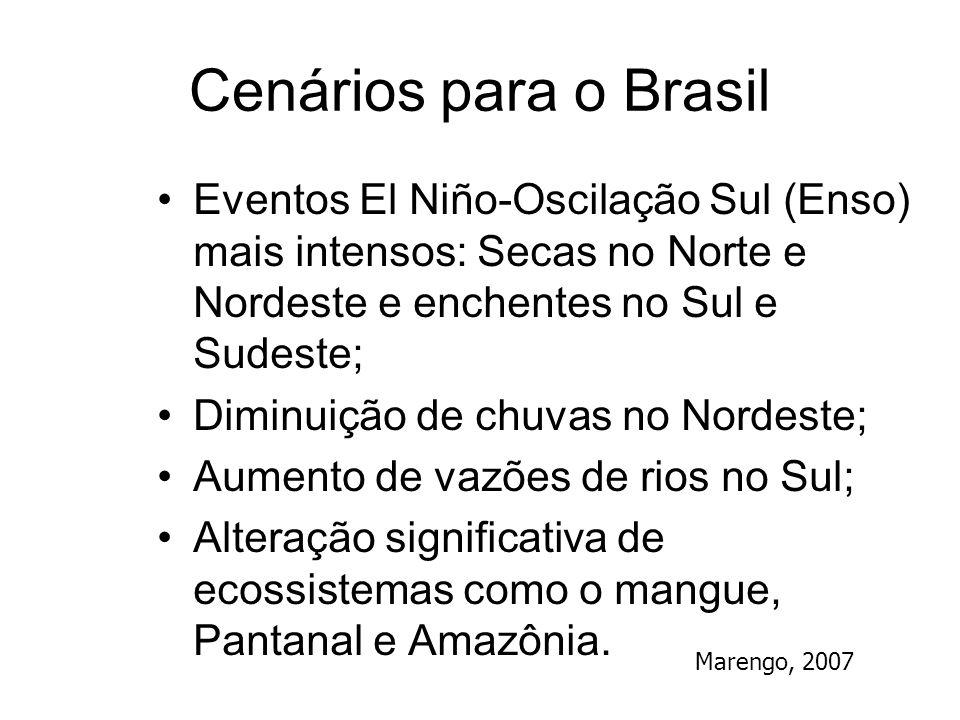 Cenários para o Brasil Eventos El Niño-Oscilação Sul (Enso) mais intensos: Secas no Norte e Nordeste e enchentes no Sul e Sudeste;