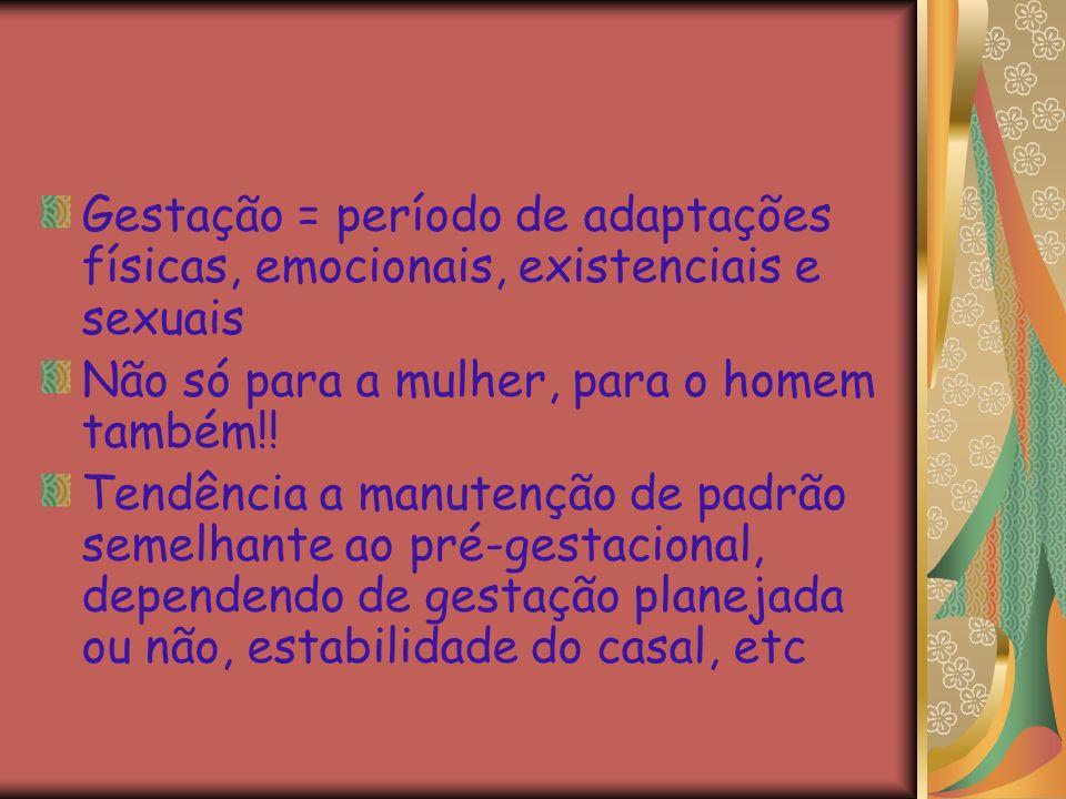 Gestação = período de adaptações físicas, emocionais, existenciais e sexuais