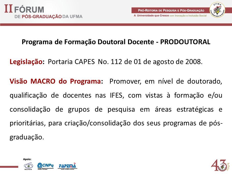 Programa de Formação Doutoral Docente - PRODOUTORAL