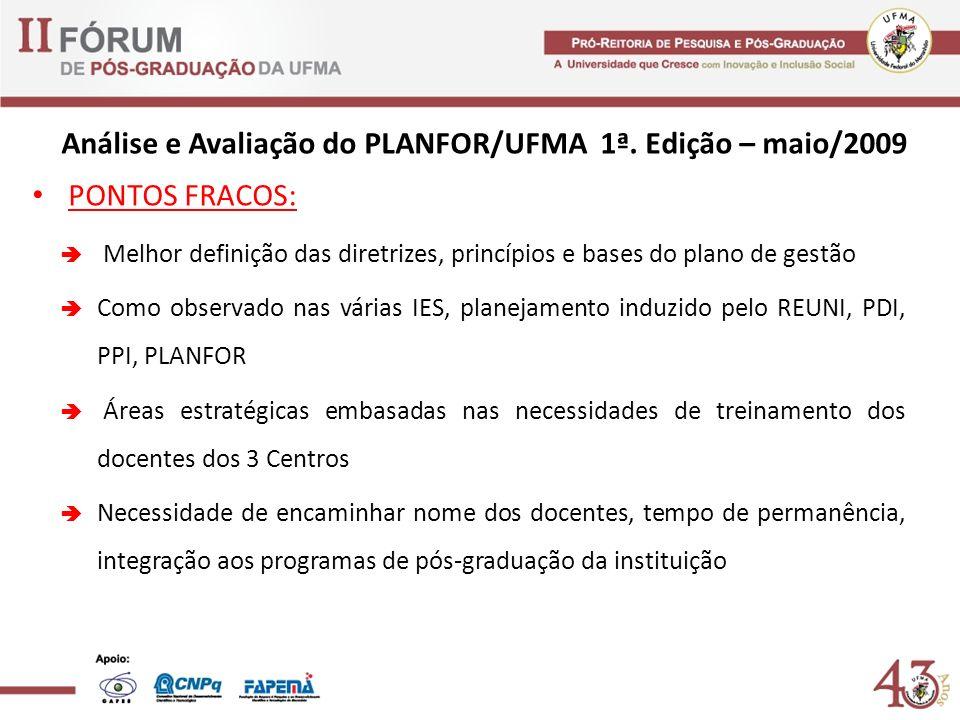 Análise e Avaliação do PLANFOR/UFMA 1ª. Edição – maio/2009