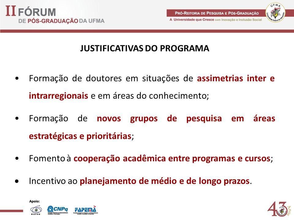 JUSTIFICATIVAS DO PROGRAMA