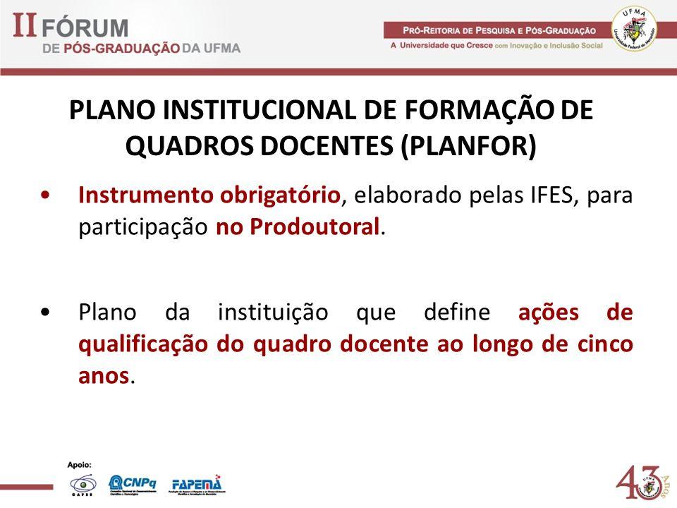 PLANO INSTITUCIONAL DE FORMAÇÃO DE QUADROS DOCENTES (PLANFOR)