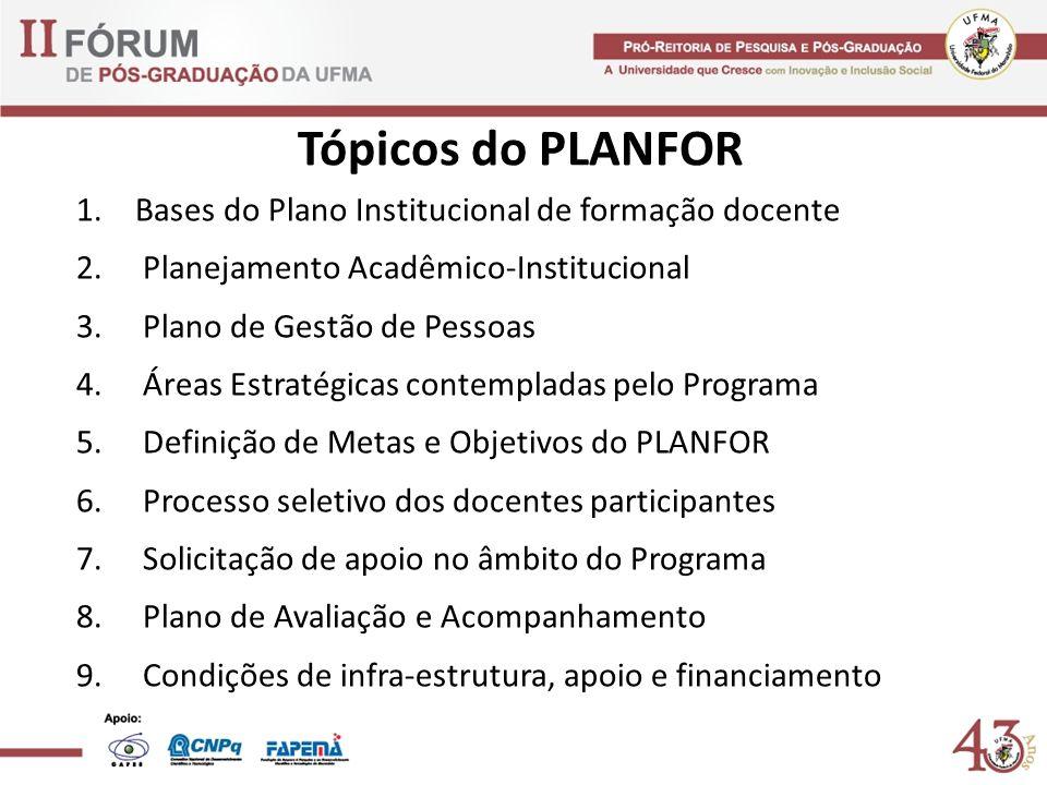 Tópicos do PLANFOR Bases do Plano Institucional de formação docente