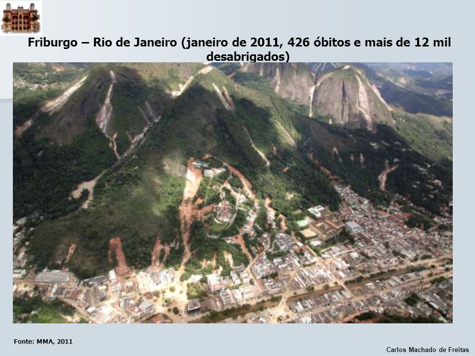 Friburgo – Rio de Janeiro (janeiro de 2011, 426 óbitos e mais de 12 mil desabrigados)
