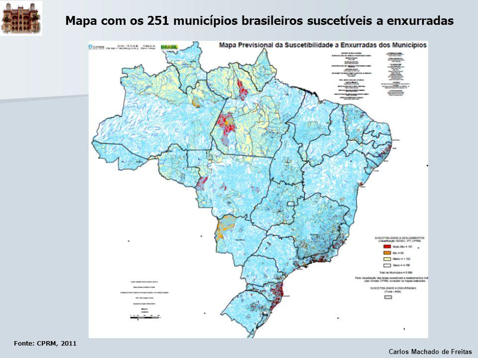 Mapa com os 251 municípios brasileiros suscetíveis a enxurradas