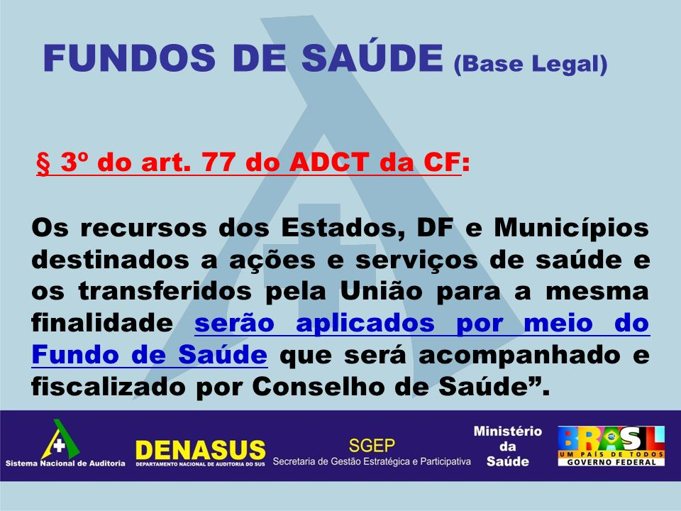 FUNDOS DE SAÚDE (Base Legal)