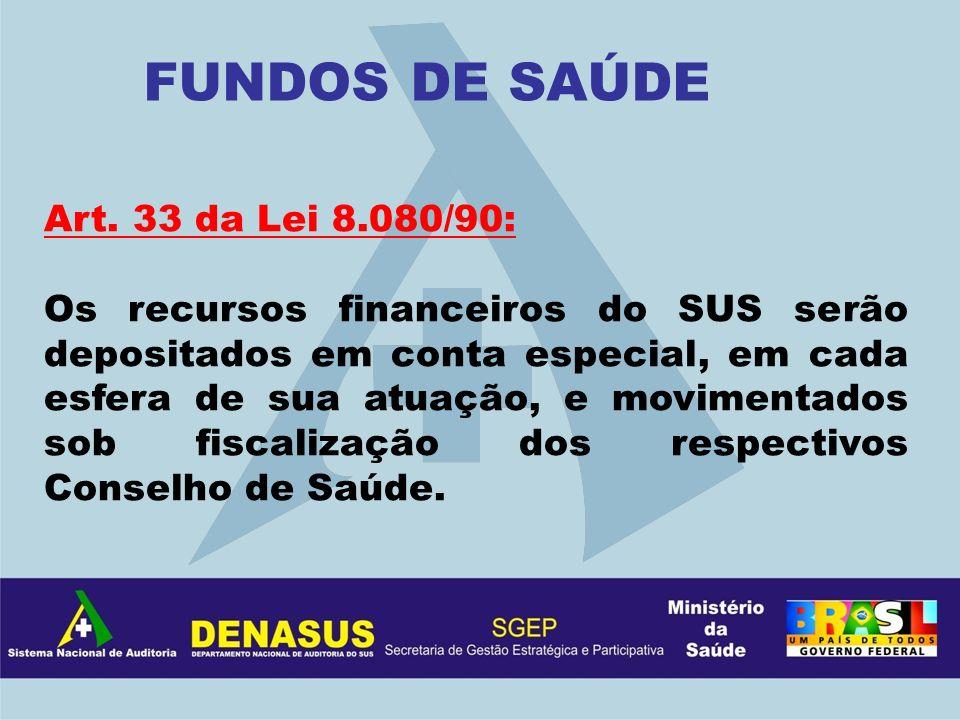 FUNDOS DE SAÚDE Art. 33 da Lei 8.080/90: