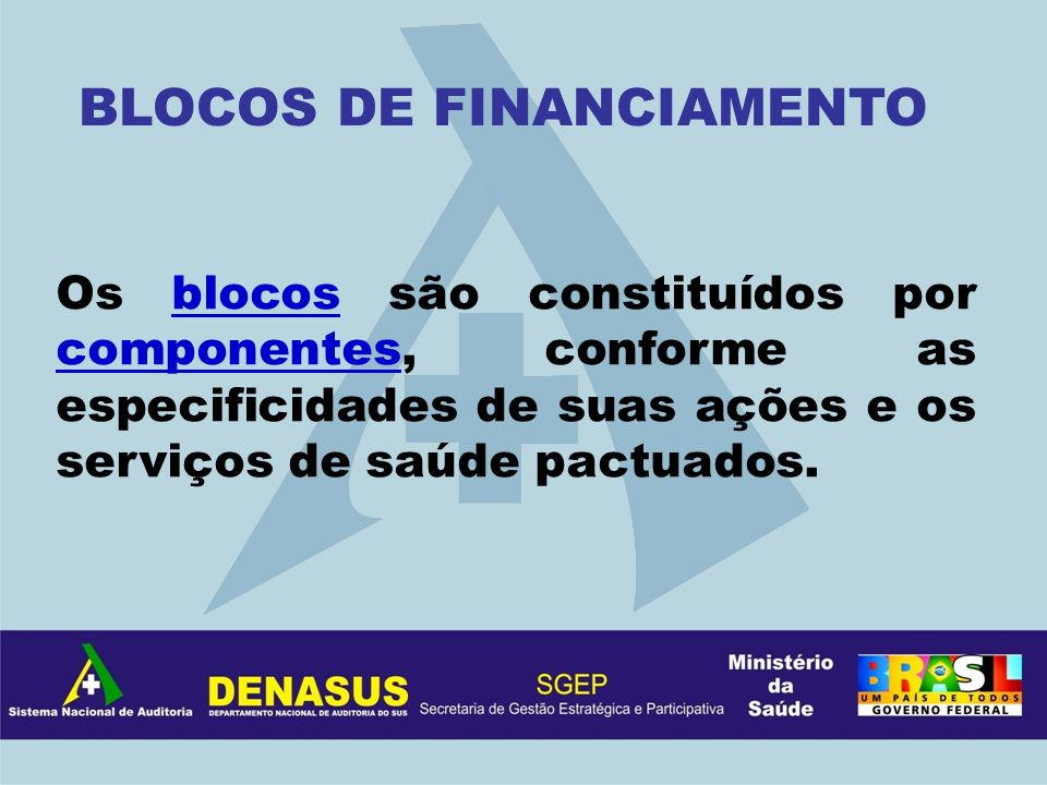 BLOCOS DE FINANCIAMENTO