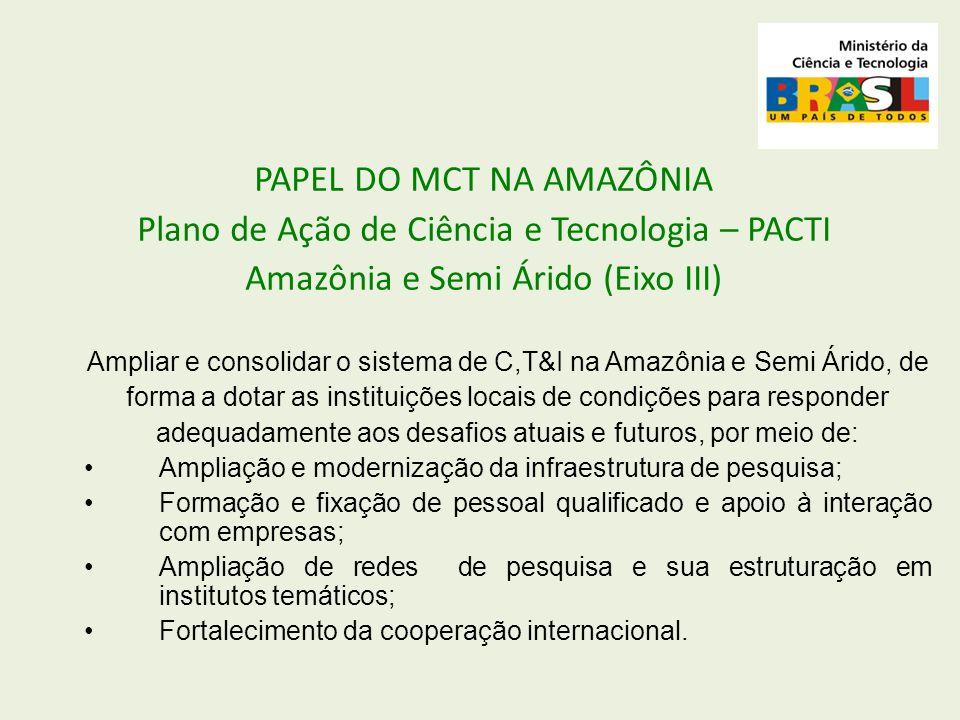 PAPEL DO MCT NA AMAZÔNIA Plano de Ação de Ciência e Tecnologia – PACTI