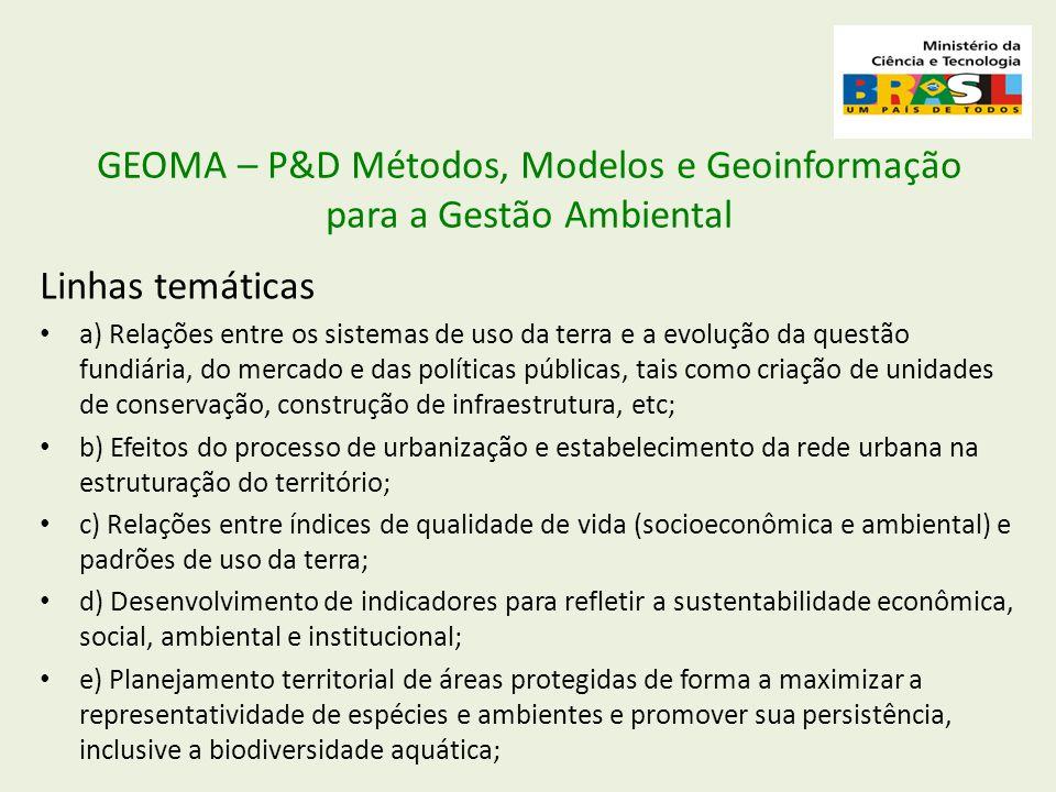 GEOMA – P&D Métodos, Modelos e Geoinformação para a Gestão Ambiental