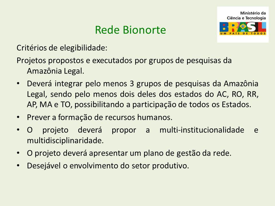 Rede Bionorte Critérios de elegibilidade: