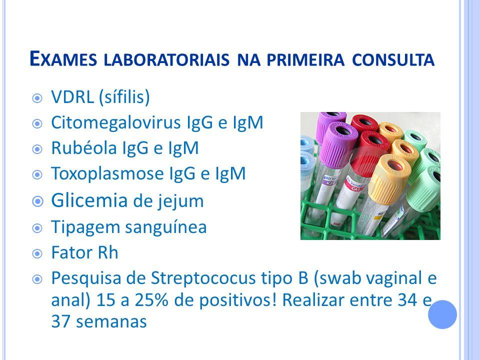 Exames laboratoriais na primeira consulta