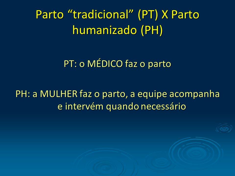 Parto tradicional (PT) X Parto humanizado (PH)