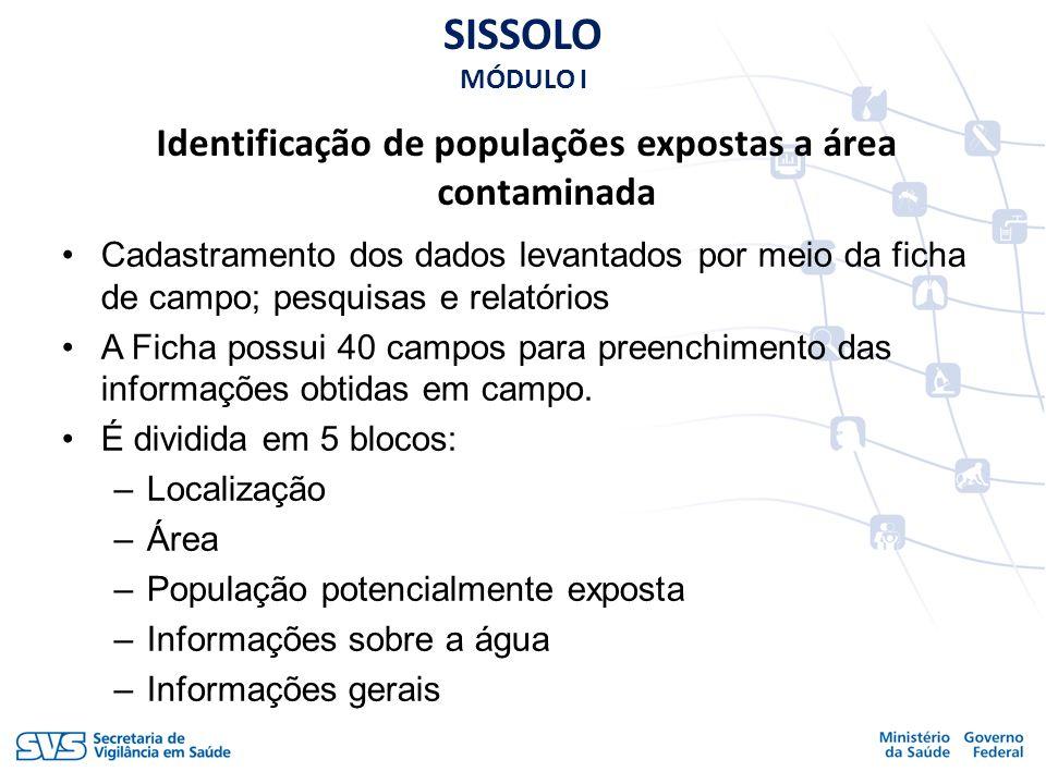 Identificação de populações expostas a área contaminada