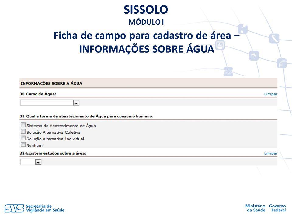 Ficha de campo para cadastro de área – INFORMAÇÕES SOBRE ÁGUA