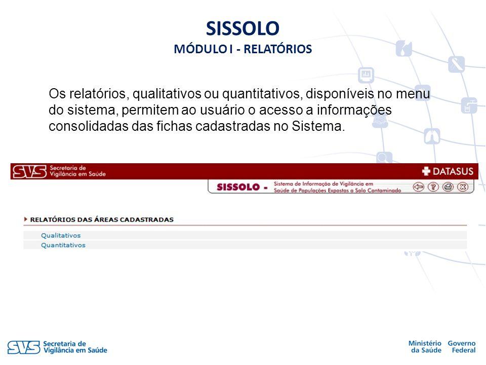 SISSOLO MÓDULO I - RELATÓRIOS