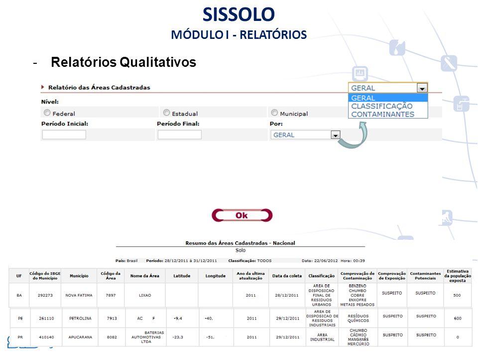 SISSOLO MÓDULO I - RELATÓRIOS Relatórios Qualitativos