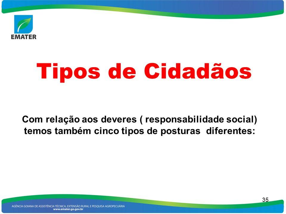 Tipos de Cidadãos Com relação aos deveres ( responsabilidade social)