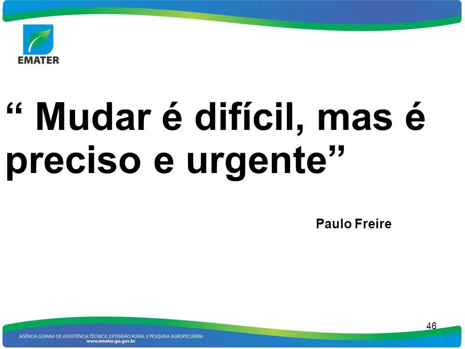 Mudar é difícil, mas é preciso e urgente Paulo Freire
