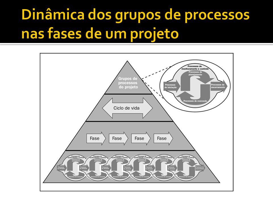 Dinâmica dos grupos de processos nas fases de um projeto