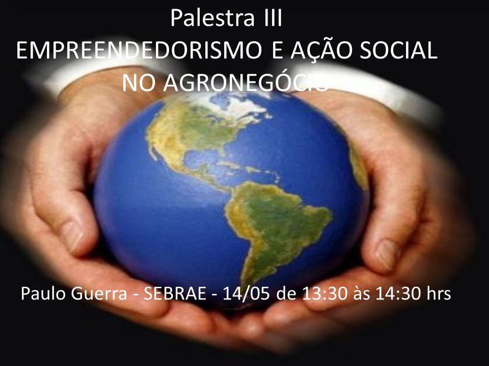 Palestra III EMPREENDEDORISMO E AÇÃO SOCIAL NO AGRONEGÓCIO