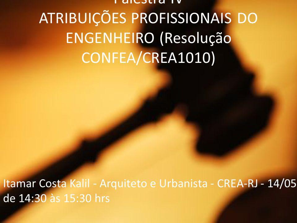 Palestra IV ATRIBUIÇÕES PROFISSIONAIS DO ENGENHEIRO (Resolução CONFEA/CREA1010)
