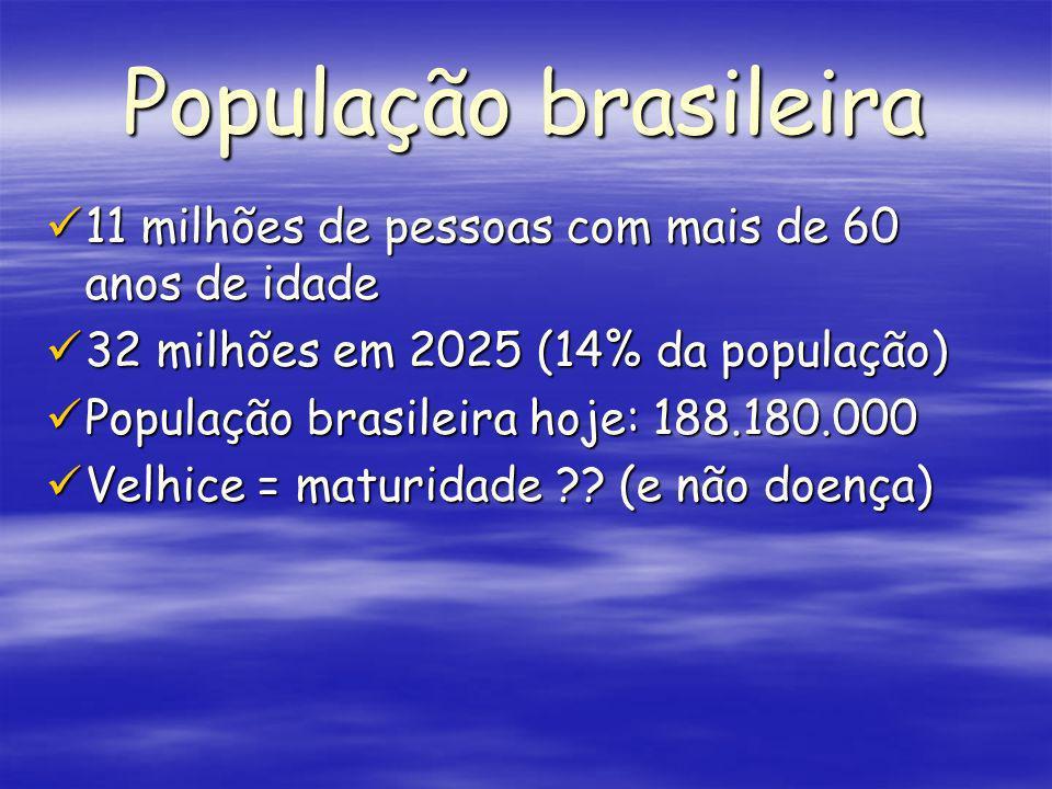 População brasileira 11 milhões de pessoas com mais de 60 anos de idade. 32 milhões em 2025 (14% da população)