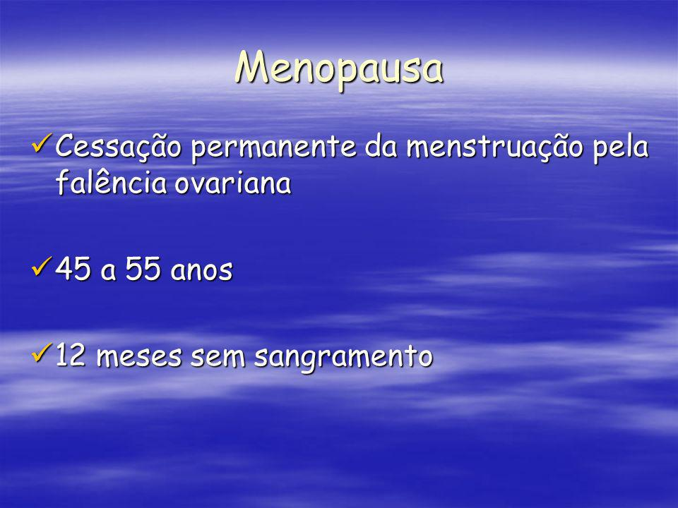 Menopausa Cessação permanente da menstruação pela falência ovariana