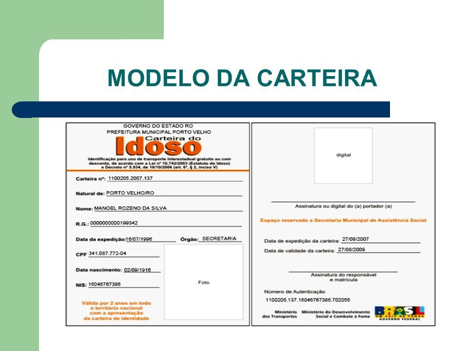 MODELO DA CARTEIRA