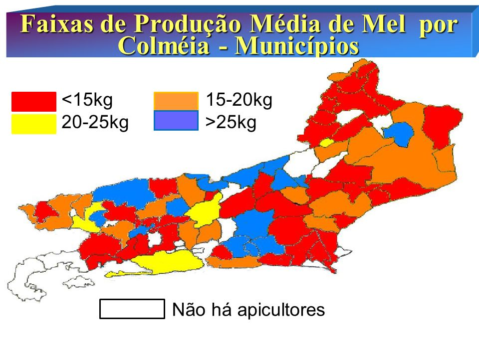 Faixas de Produção Média de Mel por Colméia - Municípios