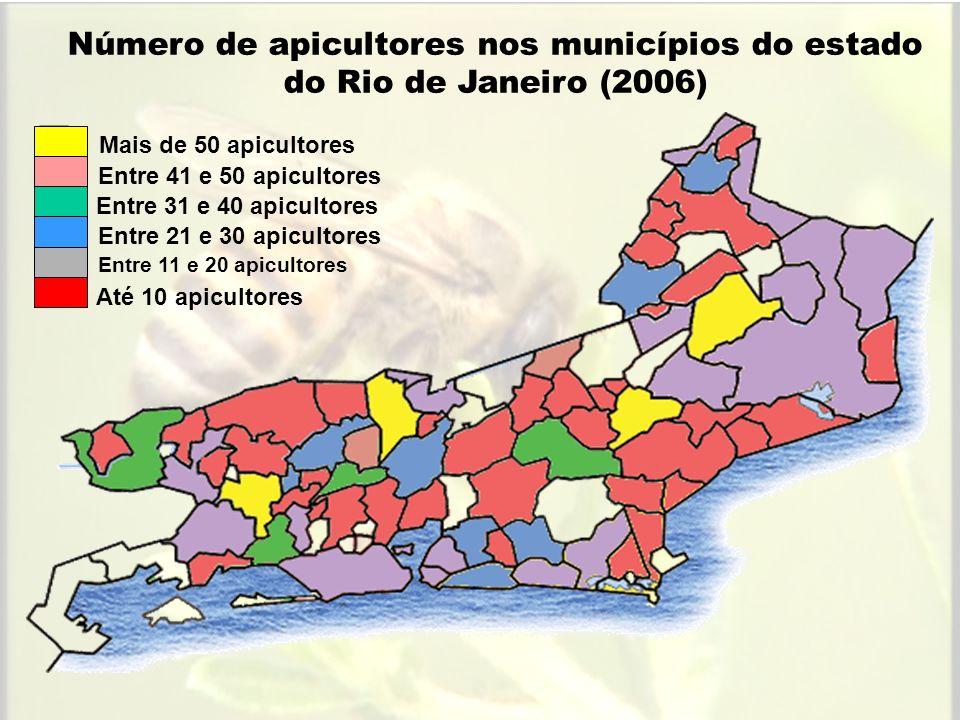 Número de apicultores nos municípios do estado do Rio de Janeiro (2006)