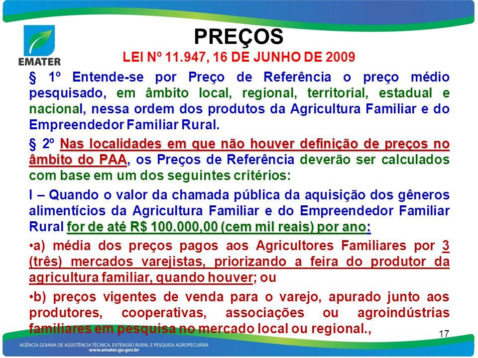 PREÇOS LEI Nº 11.947, 16 DE JUNHO DE 2009