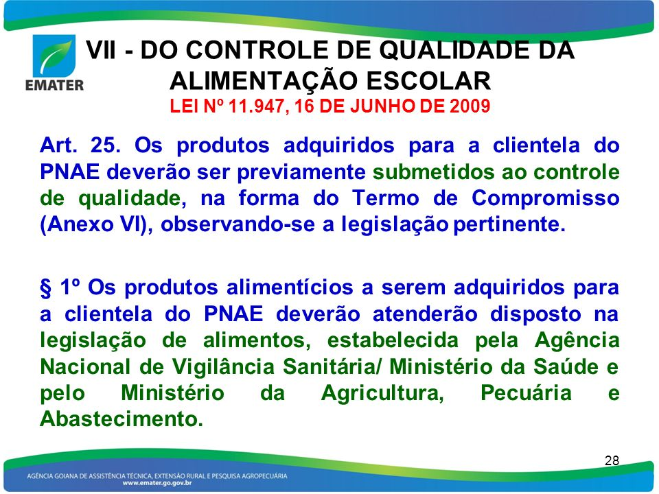 VII - DO CONTROLE DE QUALIDADE DA ALIMENTAÇÃO ESCOLAR LEI Nº 11