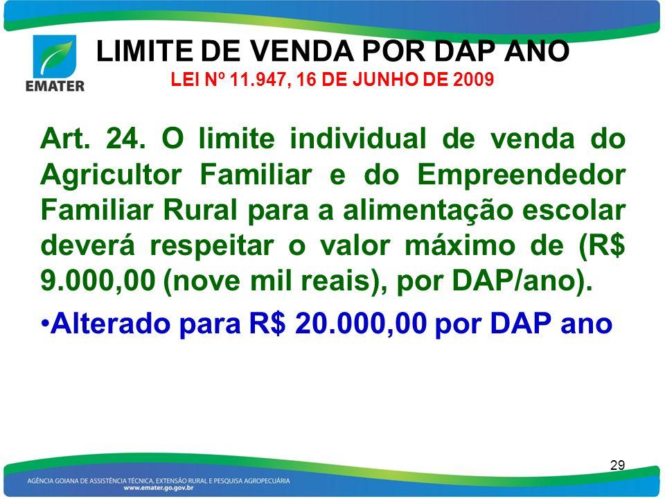 LIMITE DE VENDA POR DAP ANO LEI Nº 11.947, 16 DE JUNHO DE 2009