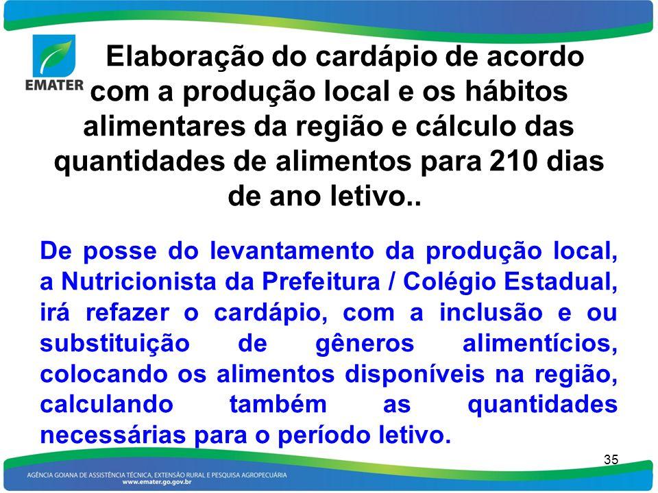 Elaboração do cardápio de acordo com a produção local e os hábitos alimentares da região e cálculo das quantidades de alimentos para 210 dias de ano letivo..