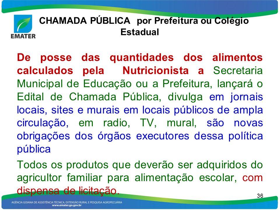 CHAMADA PÚBLICA por Prefeitura ou Colégio Estadual