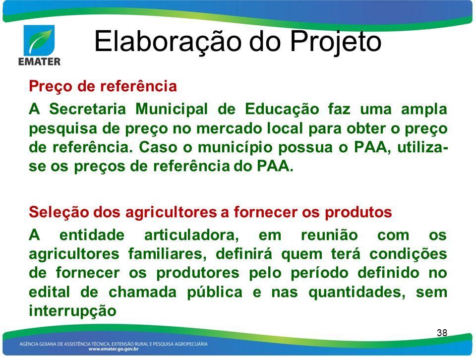 Elaboração do Projeto Preço de referência
