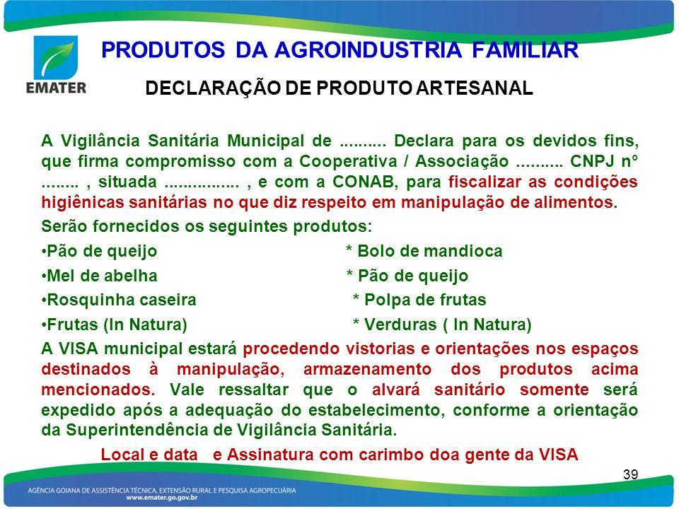 PRODUTOS DA AGROINDUSTRIA FAMILIAR