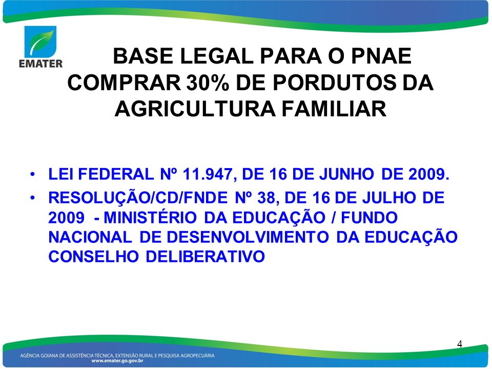 BASE LEGAL PARA O PNAE COMPRAR 30% DE PORDUTOS DA AGRICULTURA FAMILIAR