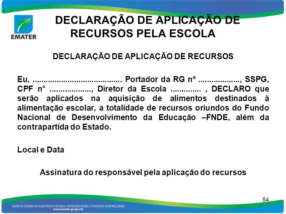 DECLARAÇÃO DE APLICAÇÃO DE RECURSOS PELA ESCOLA