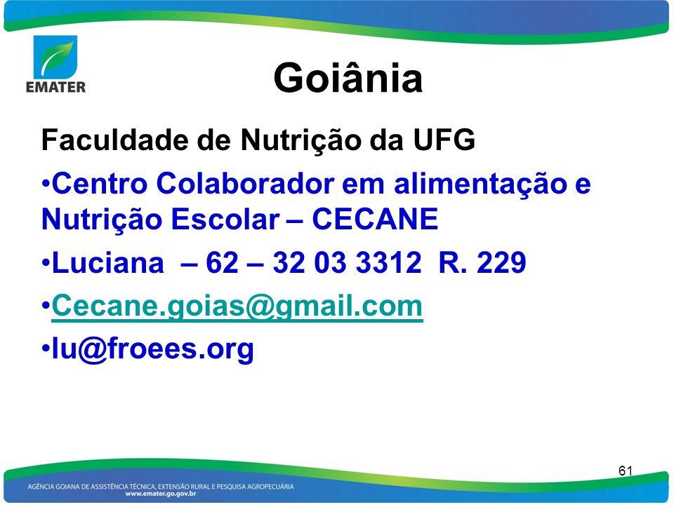 Goiânia Faculdade de Nutrição da UFG