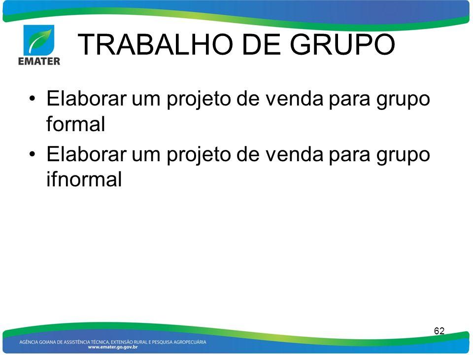 TRABALHO DE GRUPO Elaborar um projeto de venda para grupo formal