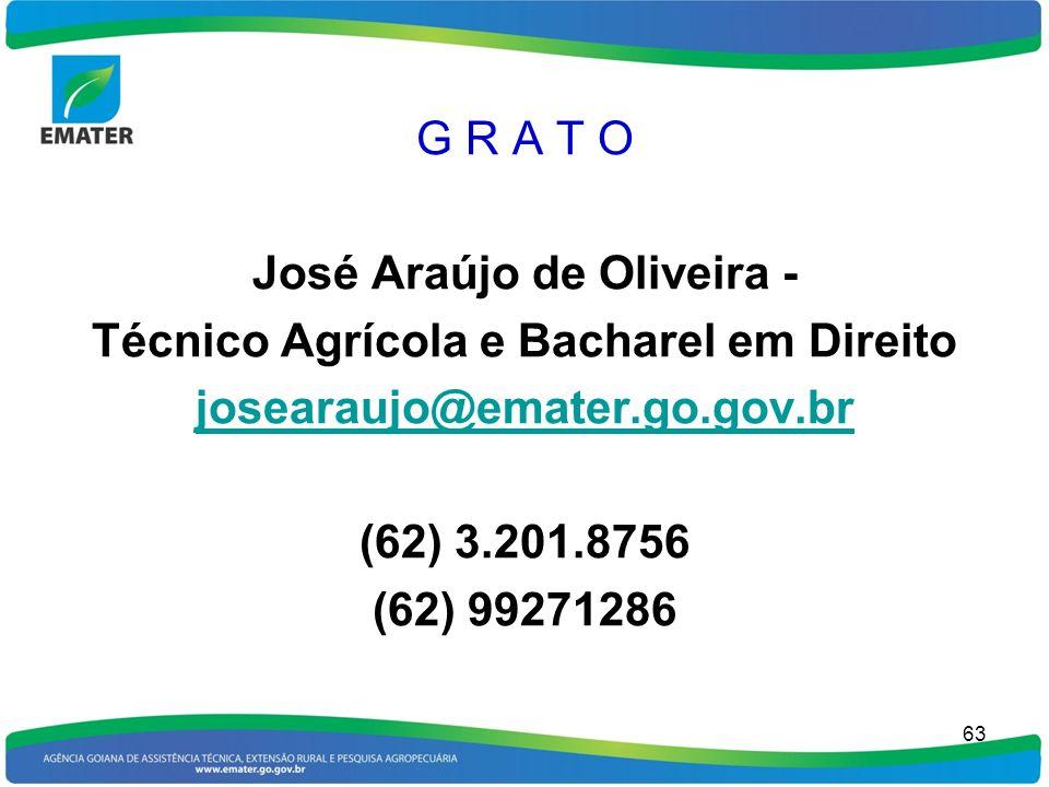 G R A T O José Araújo de Oliveira - Técnico Agrícola e Bacharel em Direito josearaujo@emater.go.gov.br (62) 3.201.8756 (62) 99271286