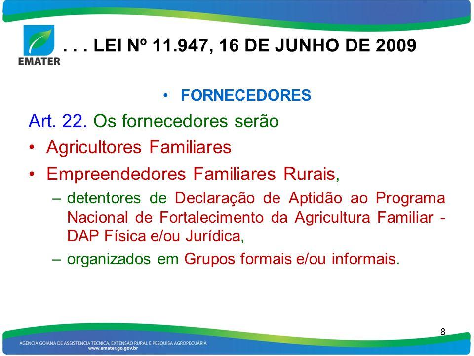 . . . LEI Nº 11.947, 16 DE JUNHO DE 2009 FORNECEDORES. Art. 22. Os fornecedores serão. Agricultores Familiares.
