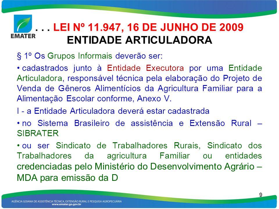 . . . LEI Nº 11.947, 16 DE JUNHO DE 2009 ENTIDADE ARTICULADORA