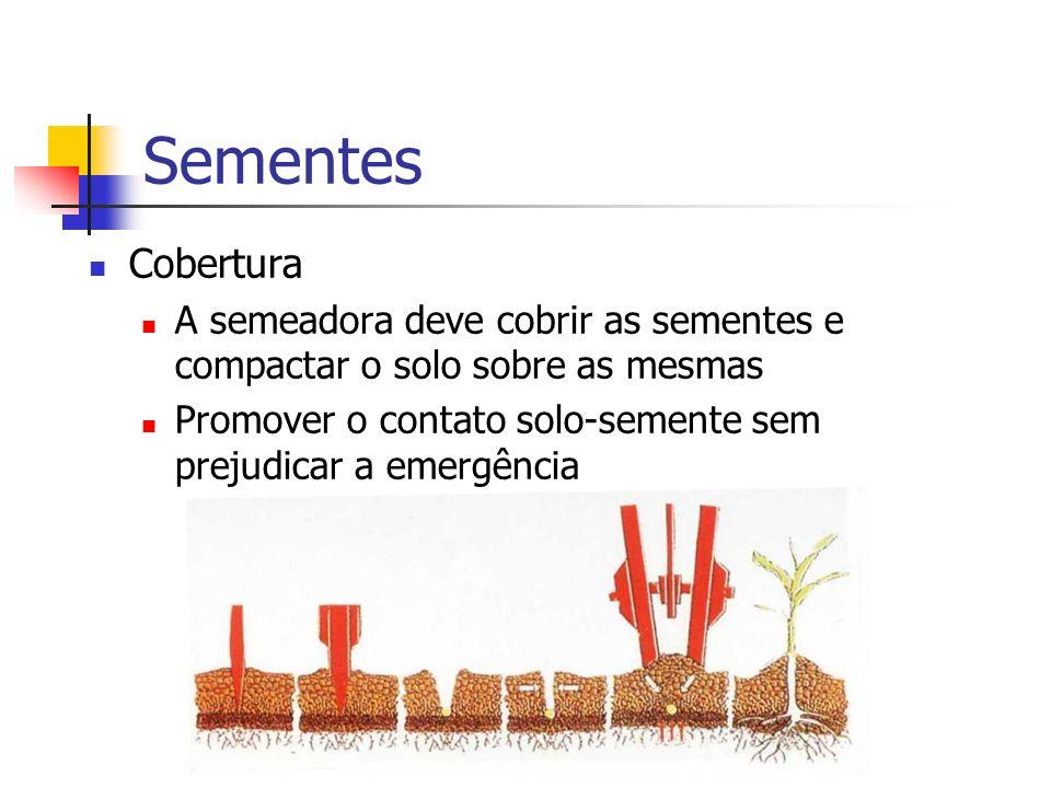 Sementes Cobertura. A semeadora deve cobrir as sementes e compactar o solo sobre as mesmas.