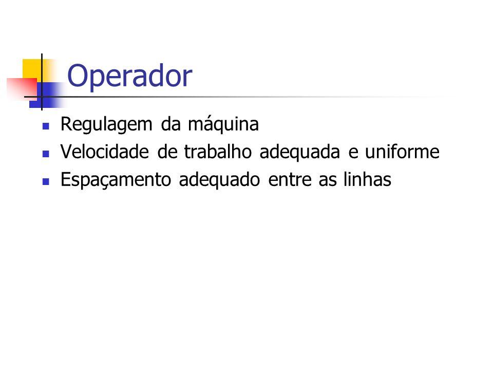 Operador Regulagem da máquina