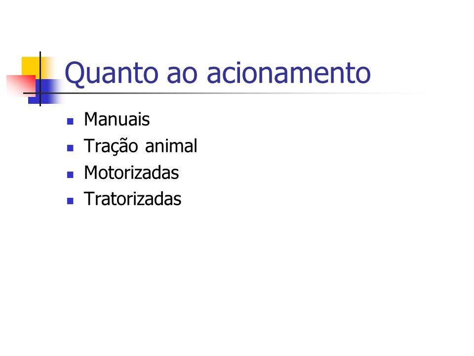 Quanto ao acionamento Manuais Tração animal Motorizadas Tratorizadas